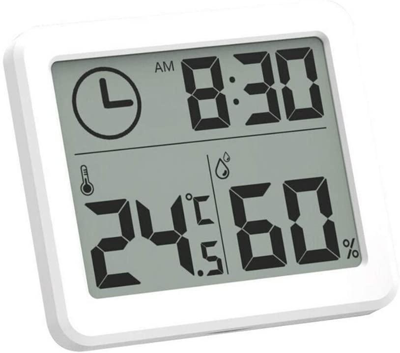 """[Nouveaux clients] Thermomètre et Hygromètre multifonctions - Ecran 3.2"""" avec affichage Heure, Température et Humidité"""