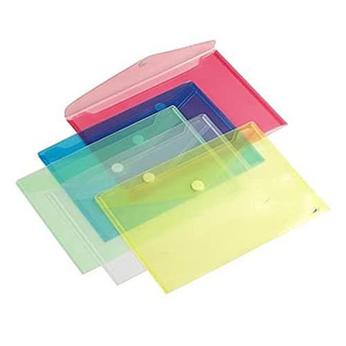 Lot de 10 pochettes porte documents A5 (21 x 14.8 cm) avec fermeture velcro - couleur vert