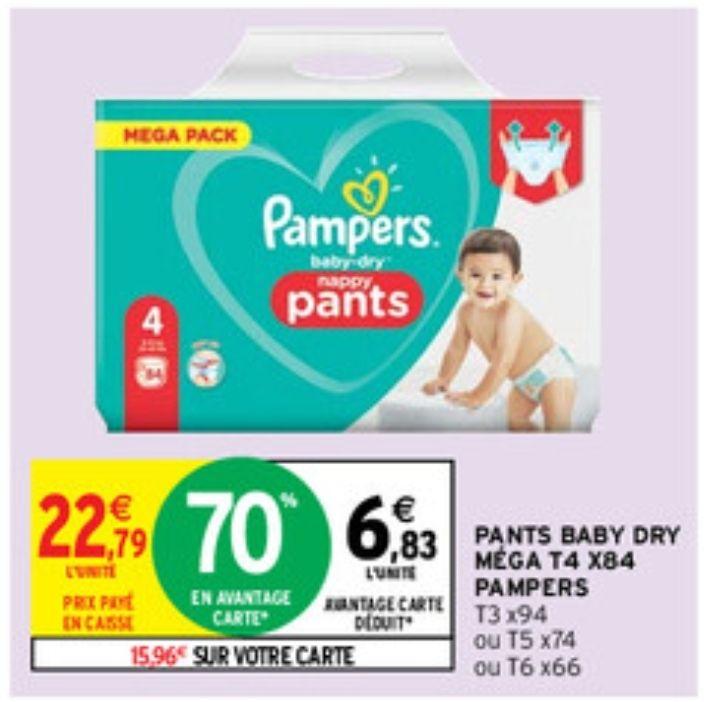 Pack de couches Pampers Nappy Pants - différentes tailles (Via 15.96€ sur la carte fidélité + BDR de 2€)