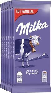 Lot de 6 tablettes de chocolat Milka Lait du Pays Alpin - 6x 100g, autres variétés disponibles