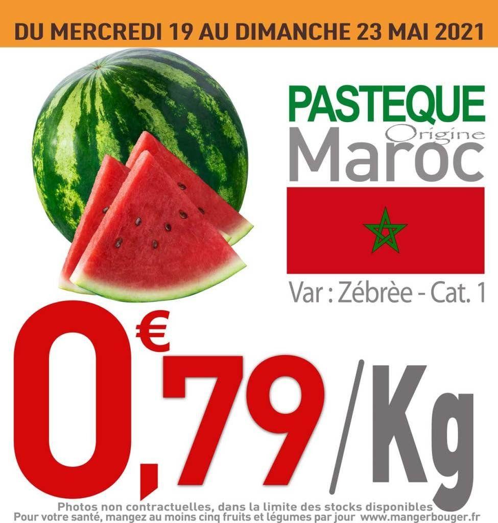 Pastèque zébrée - origine Maroc, cat. 1, le kg