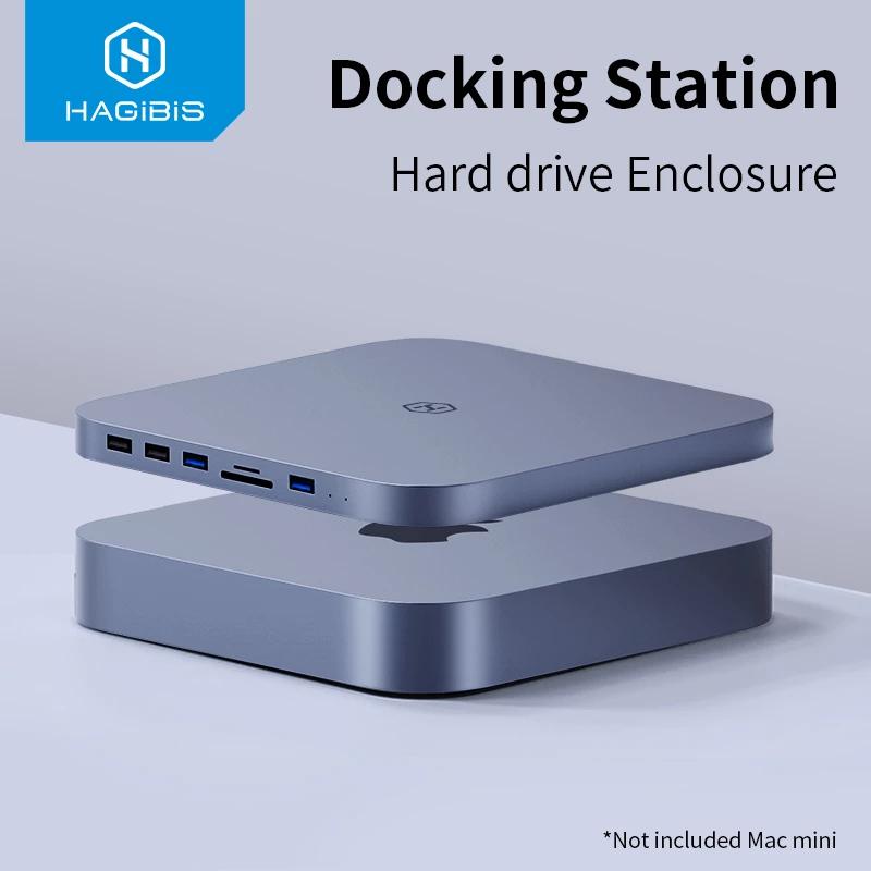 Hub USB type-C pour Apple Mac Mini Hagibis - 4 ports USB, 1 emplacement disque SATA, 1 lecteur de cartes SD