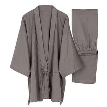 Pyjama Cotton Incerun Kimono - bleu ou gris (différentes tailles)
