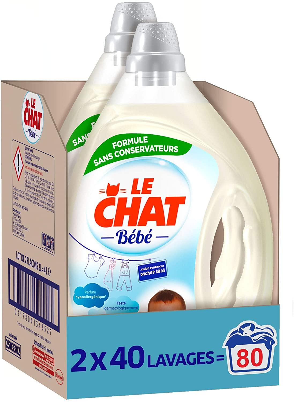 Lot de 2 Bidons de Lessive Liquide Le Chat Bébé - 80 Lavages (2 x 2 L)
