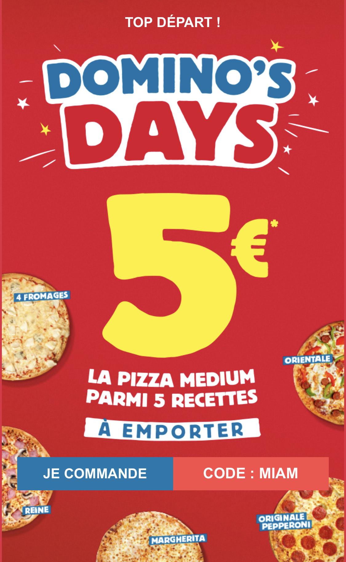 La Pizza medium à emporter parmi les recettes Reine, Margherita, 4 Fromages, Orientale ou Originale Pepperoni pour 5€