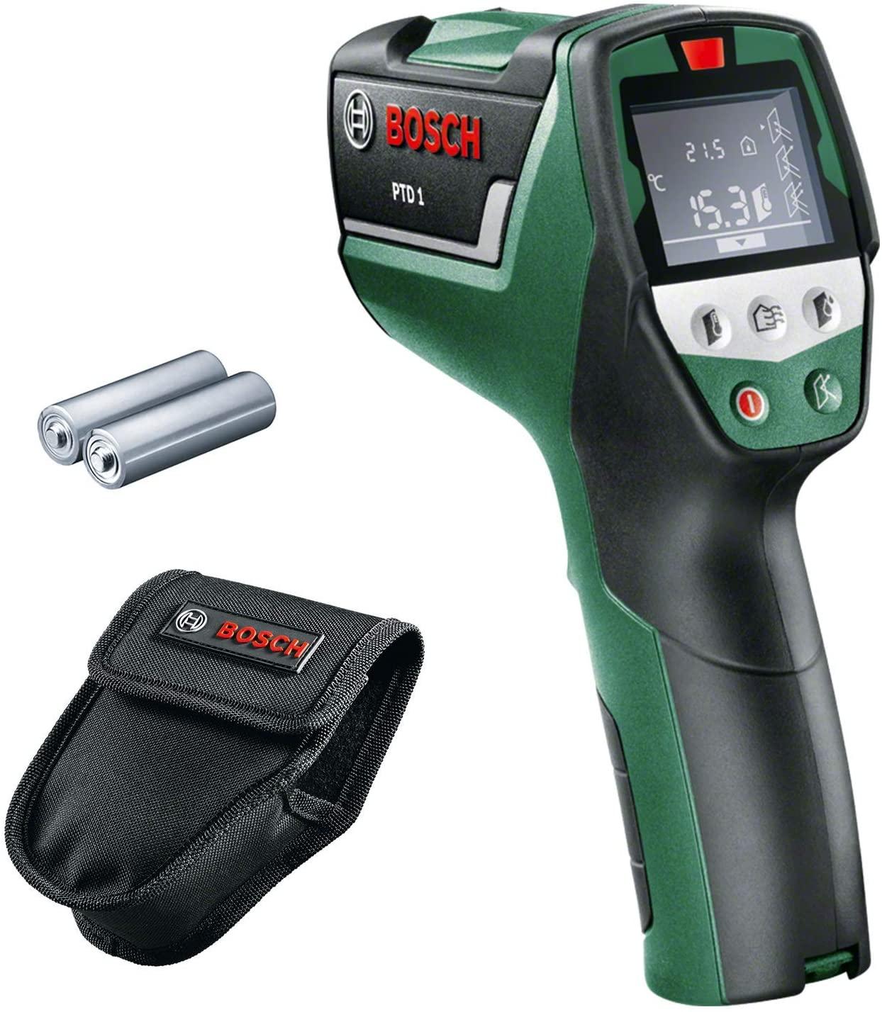 Détecteur thermique Bosch PTD 1 (Livré avec 2 piles AA, poche de rangement, écran digital)