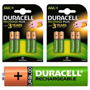 8 piles rechargeables Duracell Recharge Plus AAA 750 mAh