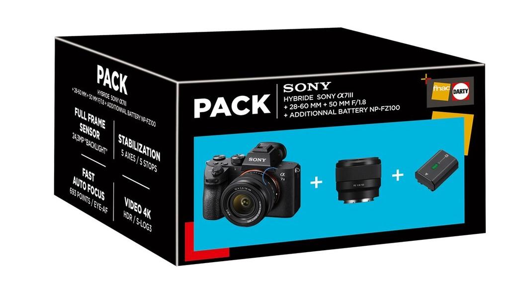 Appareil photo hybride Sony A7 III+ Objectif 28-60mm + Objectif 50mm F/1,8 + 1 batterie