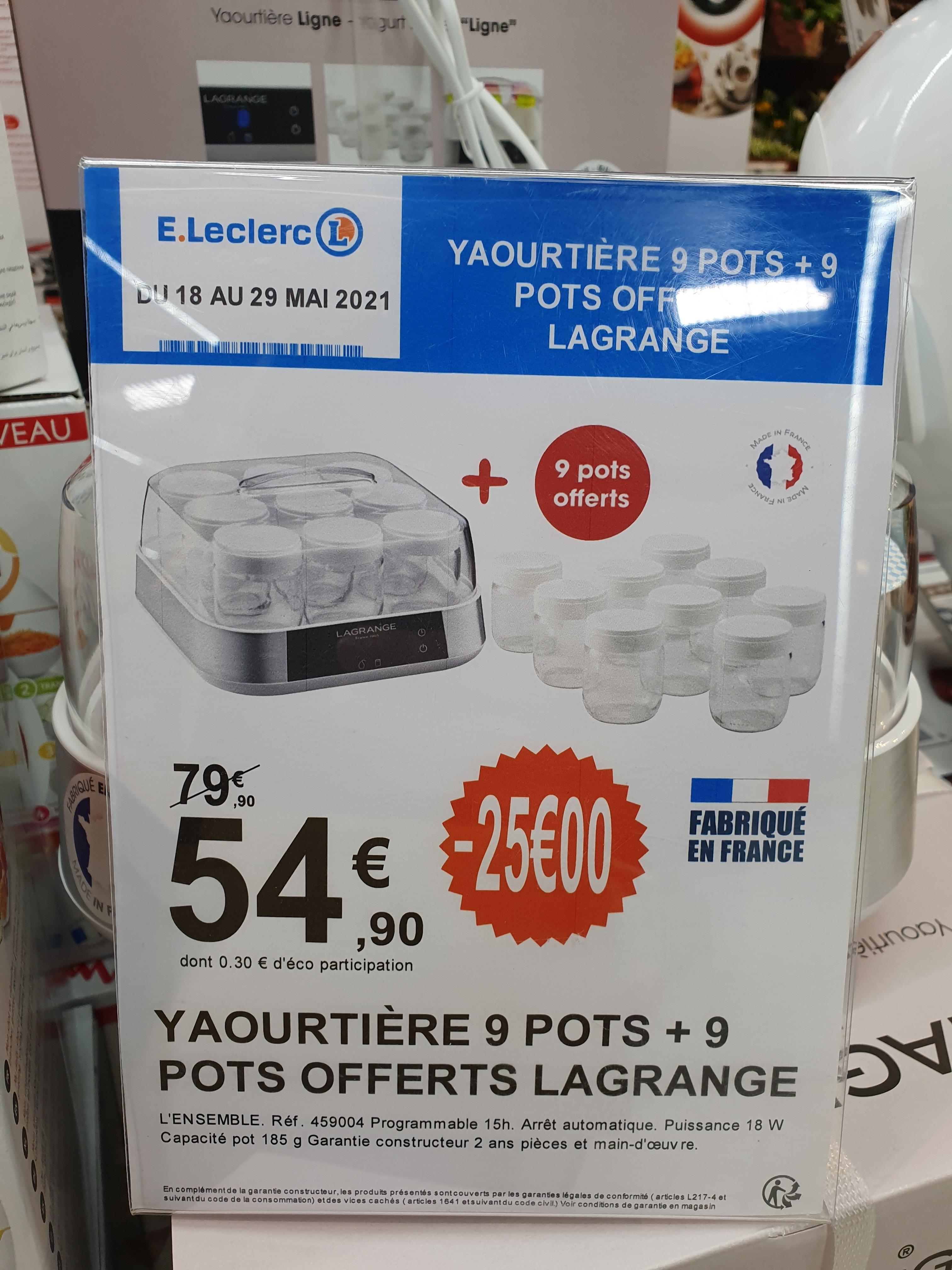 Yaourtière Lagrange 9 pots (459004) + 9 offerts