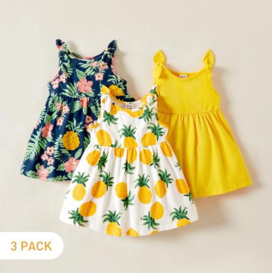 Lot de 3 robes bébé à motifs imprimés