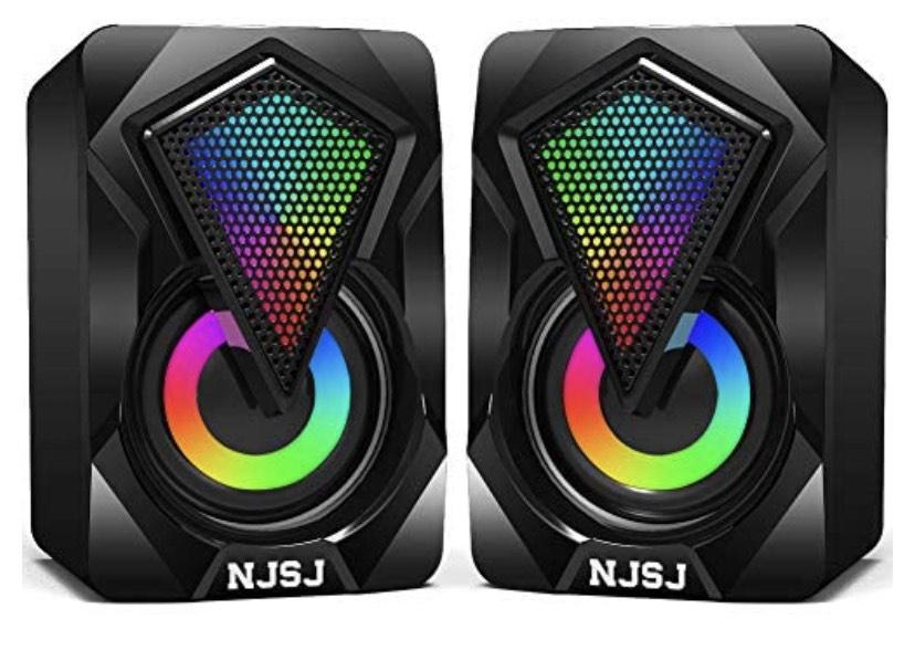 Lot de 2 mini haut-parleurs PC LED NJSJ - USB 2.0 (Via Coupon - Vendeur Tiers)