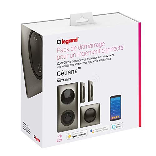 Pack de démarrage domotique Legrand Céliane - Interrupteur connecté, prise connectée, commande générale & commande sans fil