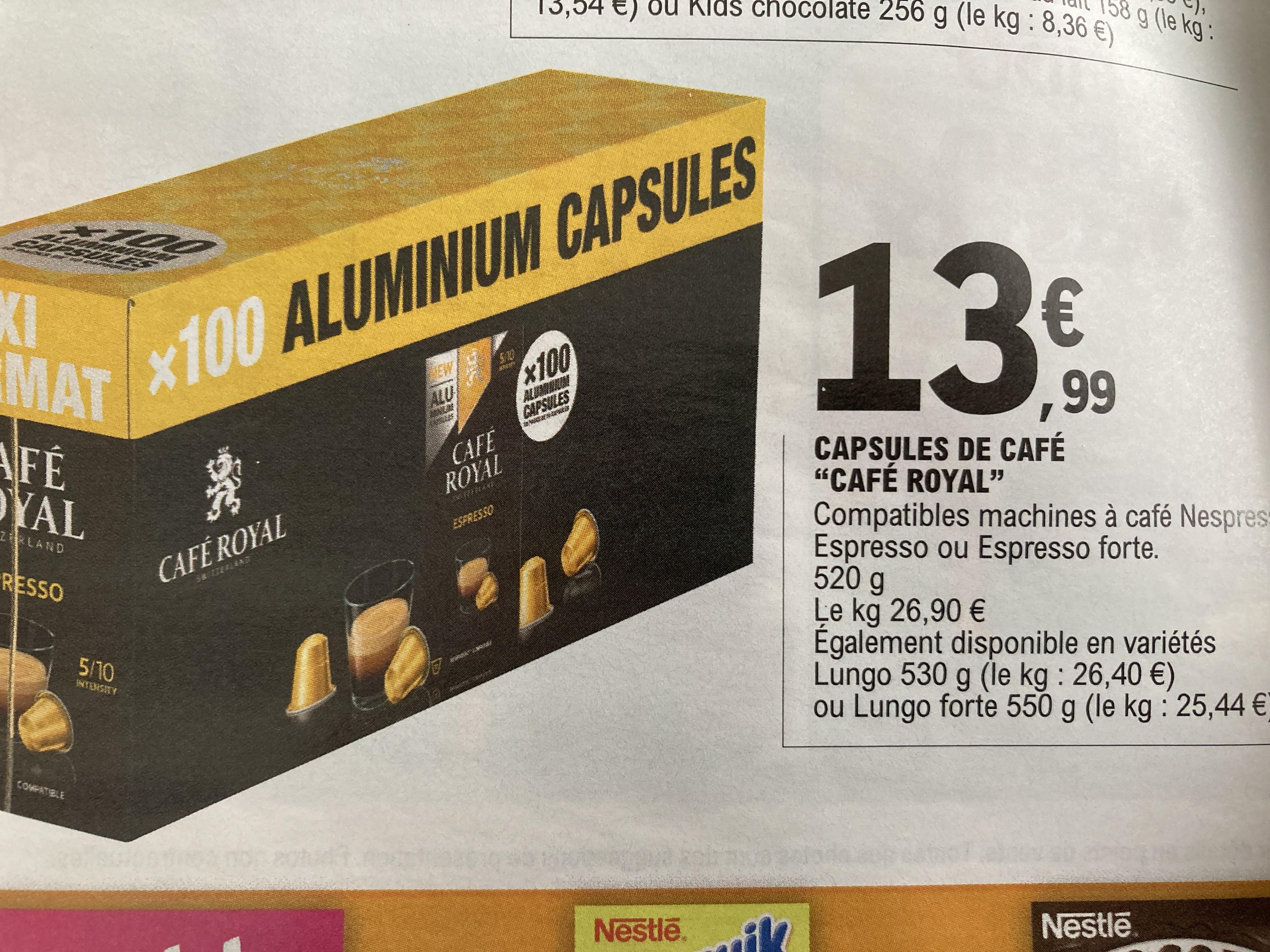 Boîte de 100 capsules de café Café Royal compatibles Nespresso