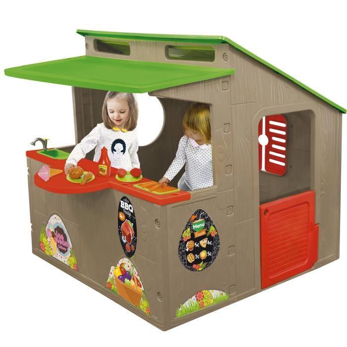 [CDAV] Maison extérieure pour enfant Le Petit Restaurant Paillote - Avec 29 accessoires L 118 x P 139 x H 120 cm