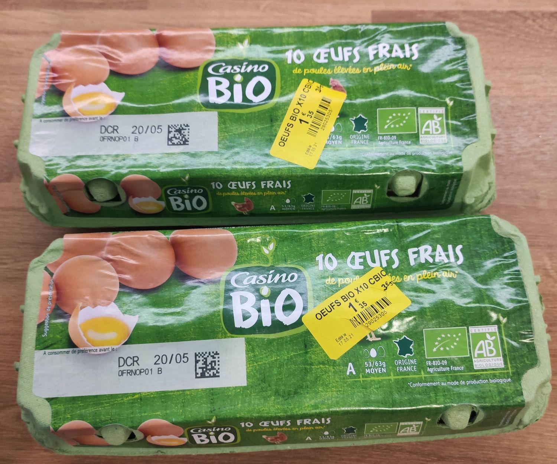 Boîte de 10 œufs bio (DCR 20/05) - Montpellier (34)