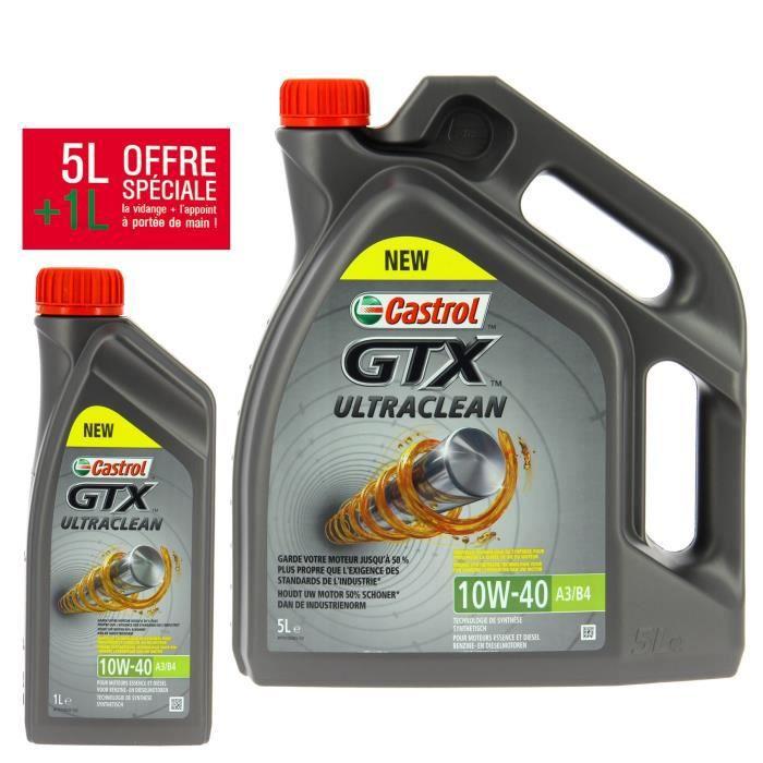 Huile moteur Castrol GTX Ultraclean 10W40 A3/B4 - Essence et Diesel, 5L +1L