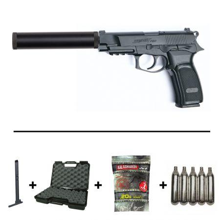 Réplique Airsoft Pistolet Bersa Thunder 9 Pro CO2 (17309) + 2 Chargeurs + 5 Cartouches CO2 + Mallette de Transport + 3500 Billes
