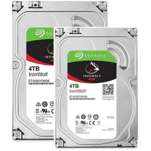 """Lot de 2 Disques durs internes 3.5"""" Seagate IronWolf (NAS) ST4000VN008 - 2 x 4 To"""