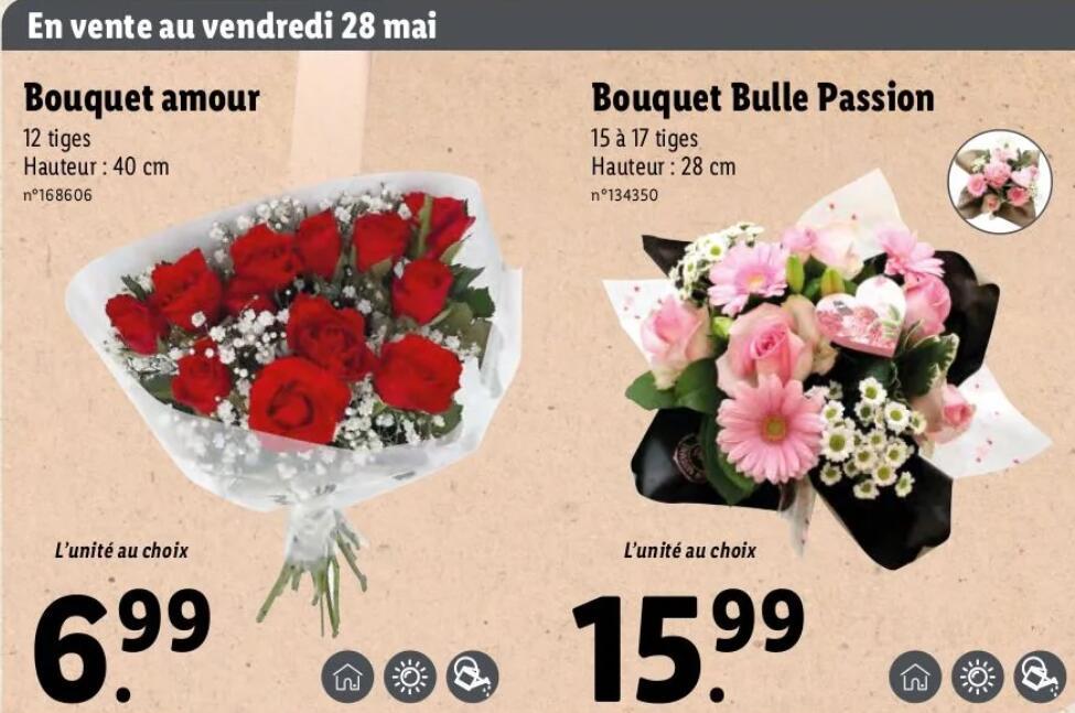 Bouquets fête des mères fleurs Amour (ou bouquet bulle passion à 15.99€)