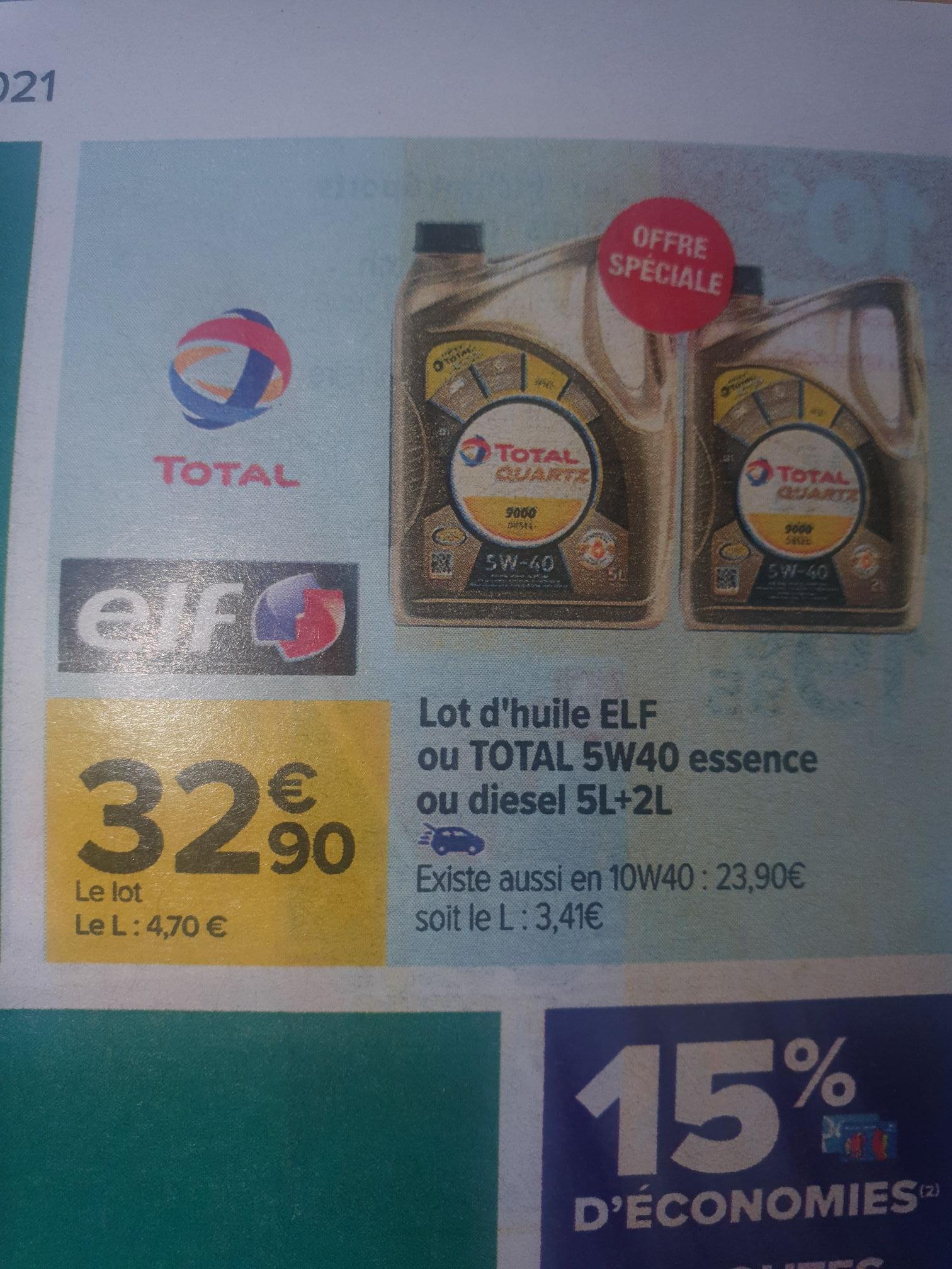 Lot de 2 bidons d'huile moteur Elf ou Total Quartz 5W40 Diesel ou Essence - 7 L (5+2)