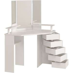 Coiffeuse d'angle Girly - 3 miroirs, 5 tiroirs pivotants
