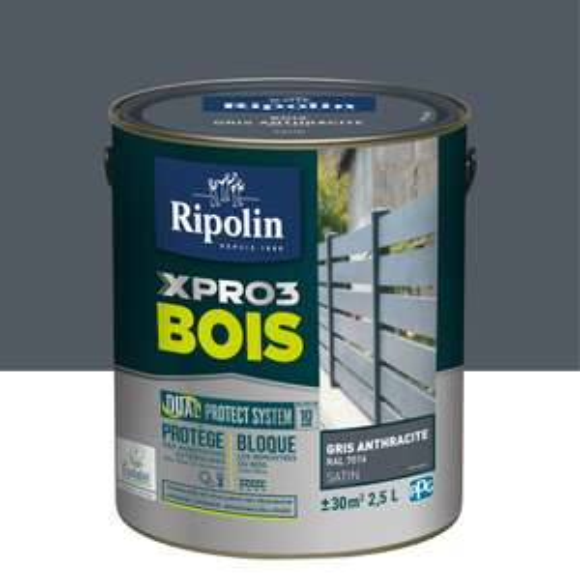 Peinture bois extérieur / intérieur Xpro3 Ripolin - Gris anthracite satiné 2.5 l