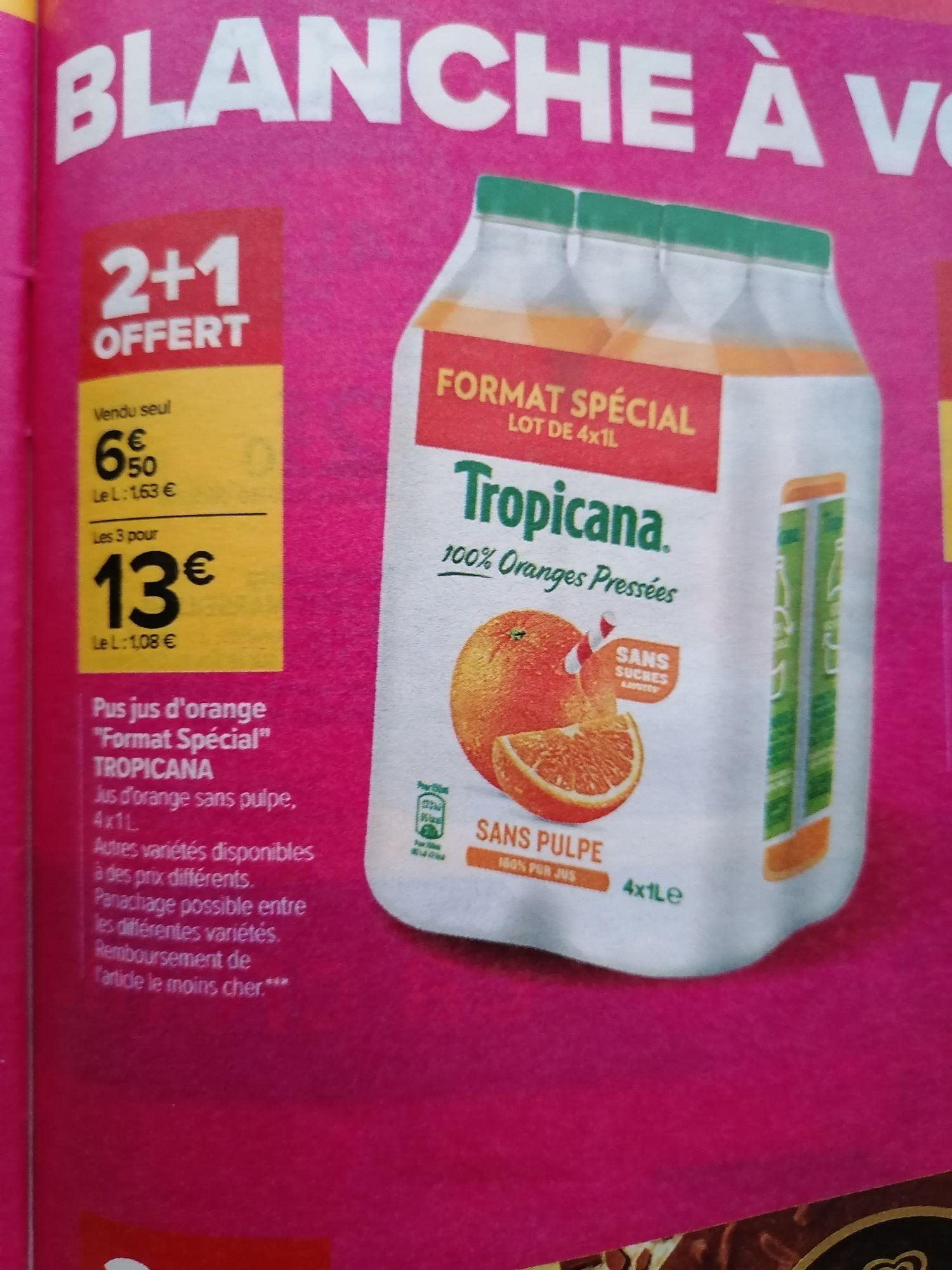 Lot de 3 packs de 4 bouteilles de jus d'orange sans pulpe Tropicana - 12 x 1 L