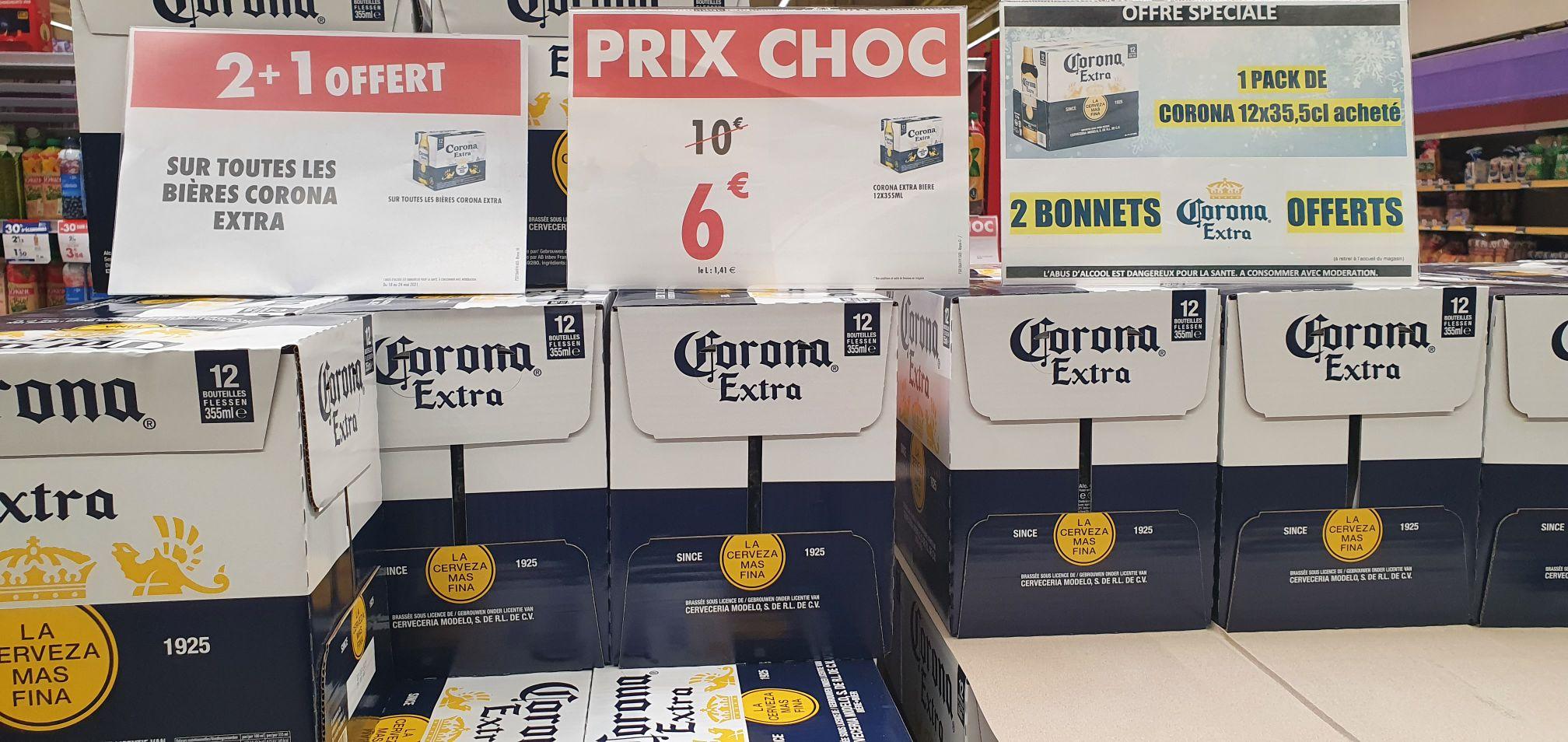 Lot de 3 Packs de bières Corona (36x 355ml) + 6 bonnets Corona - Les Eleis Cherbourg-en-Cotentin (50)