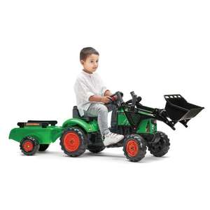 Tracteur à pédales Falk Supercharger vert avec Pelle avant, Capot ouvrant et Remorque inclus