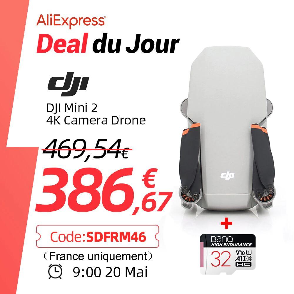Drone DJI Mavic Mini 2 (4K, 31 minutes de autonomie) + Carte microSD 64 Go