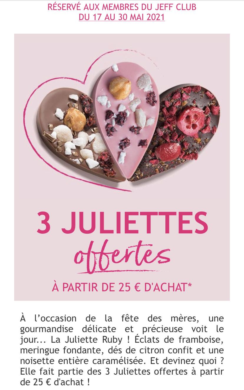 [Membres Jeff Club] 3 gourmandises Juliette Ruby offertes dès 25€ d'achat - Jeff-de-Bruges.com