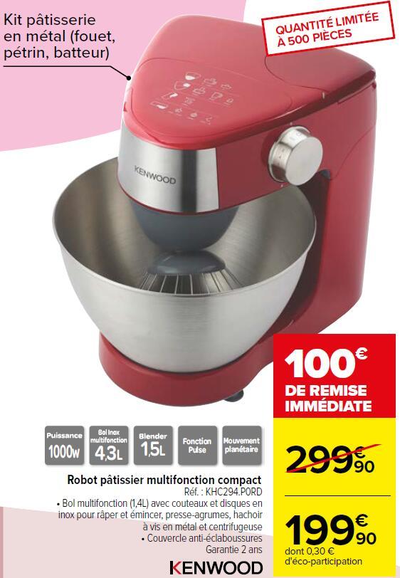 Robot pâtissier multifonctions Kenwood Prospero+ KHC294 - 1000W, Rouge, Bol inox, 4.3L Carrefour+ODR