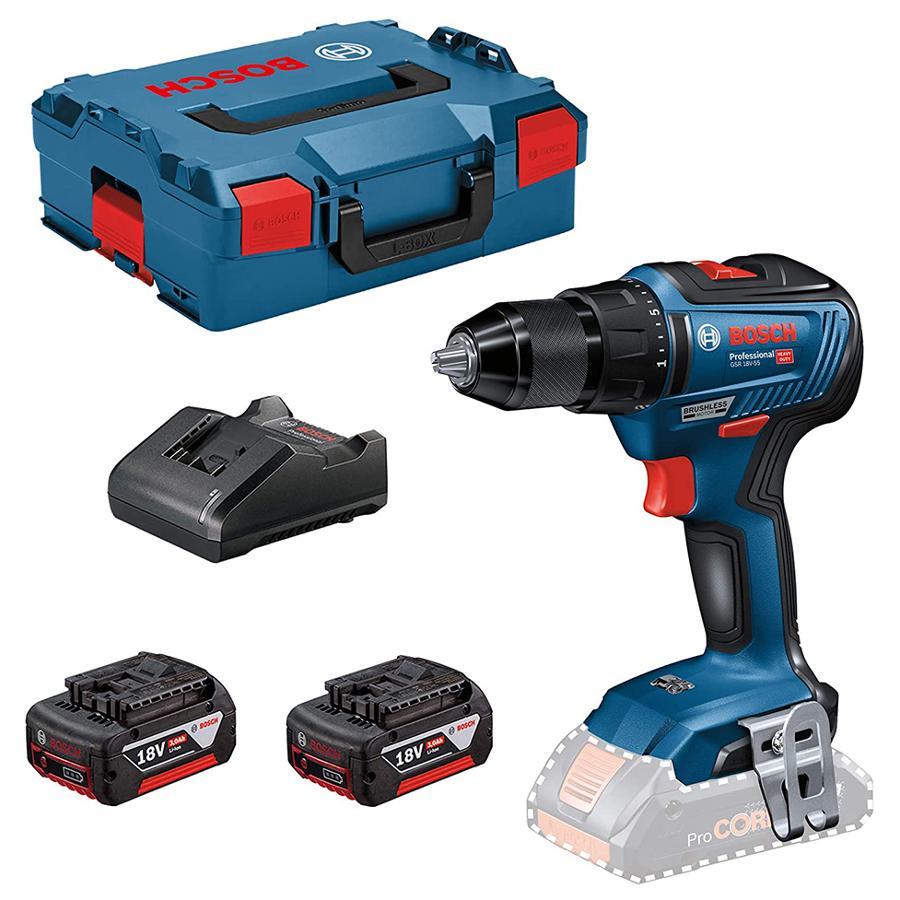 Perceuse visseuse sans fil Bosch Professional GSR 18V-55 18V + 2 batteries 3Ah + Chargeur + LBoxx (lamaison.fr)