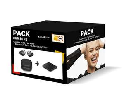 Ecouteurs sans fil Samsung Galaxy Buds Pro avec réducteur de bruit Noir + Chargeur sans fil Pad à induction Samsung Noir