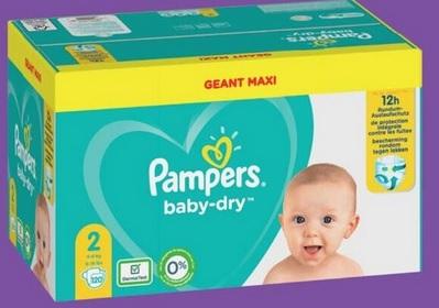 Maxi Geant Pack de Couches Pampers Baby Dry - Différentes tailles (Via 17.83€ sur Carte Fidélité + BDR de 2€)