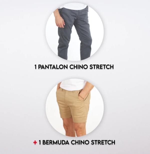 1 Pantalon Chino Stretch Ardoise + 1 Bermuda Chino Toile Stretch Mastic (complices.com)