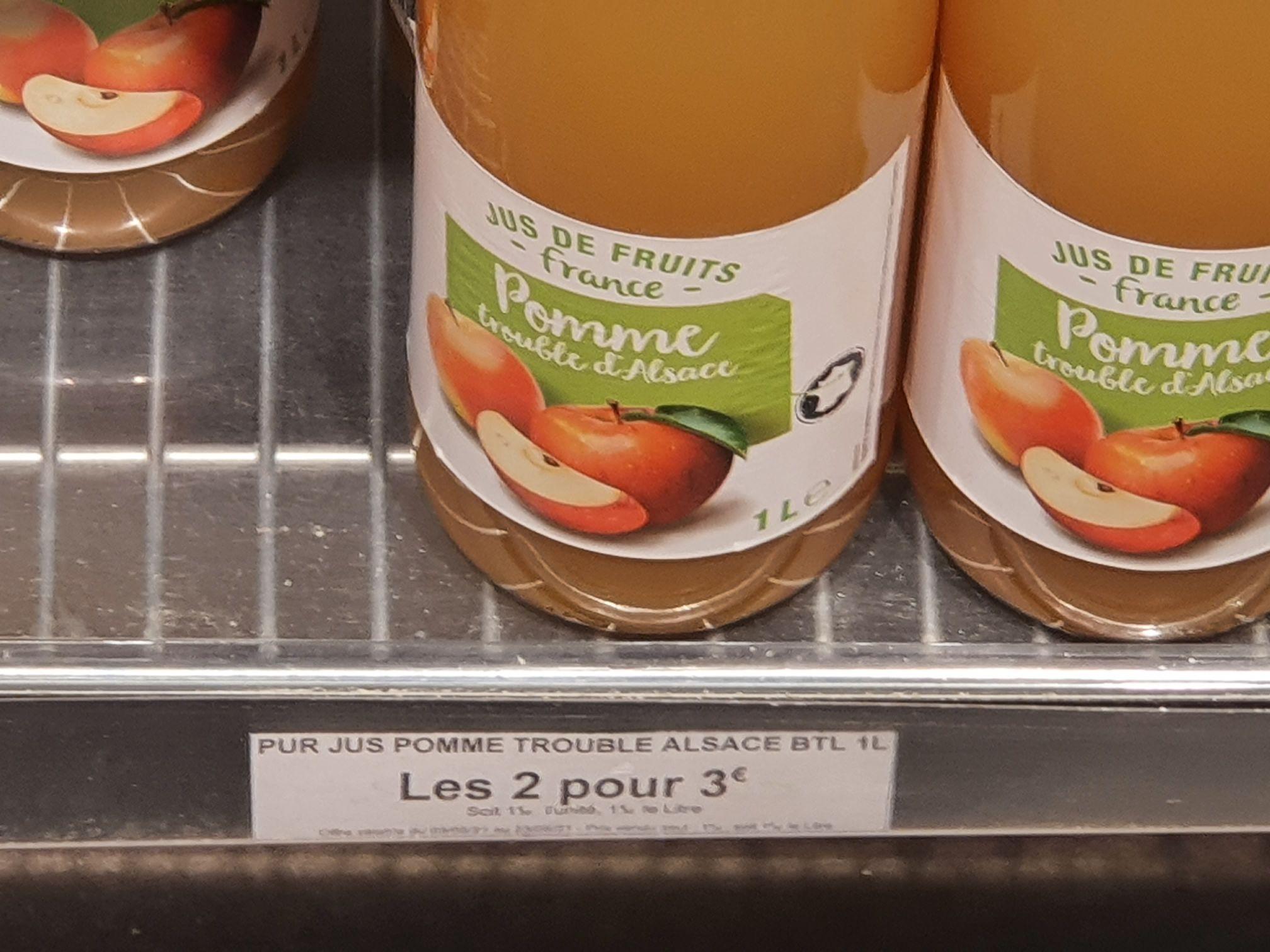 2 Bouteilles de Jus de pomme - grand frais chambray les tours (37)