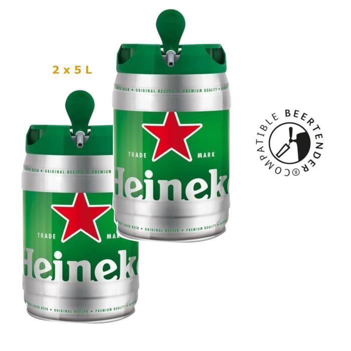 Lot de 2 fûts de bière blonde Beertender Heineken - 2x5 L(10% à cagnotter avec Cdiscount à volonté)