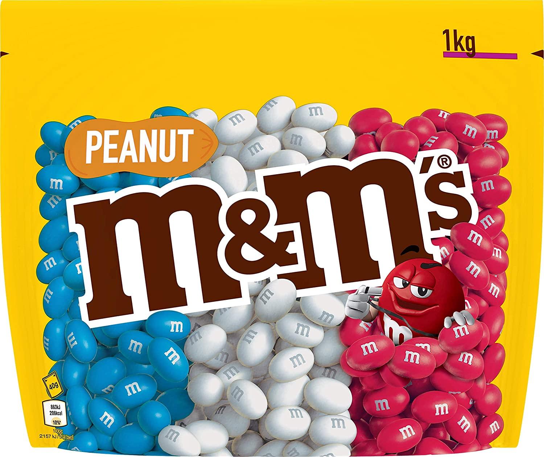 Sachet de 1 kg de M&M's Peanut Blanc Bleu rouge