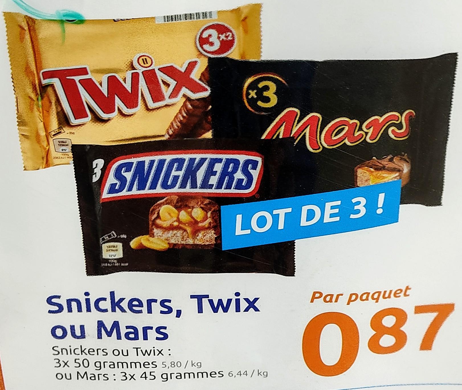 Pack de 3 barres Snickers, Twix ou Mars