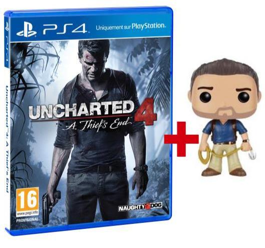 Jeu Uncharted 4 : A Thief's End sur PS4 + Figurine Pop Nathan Drake