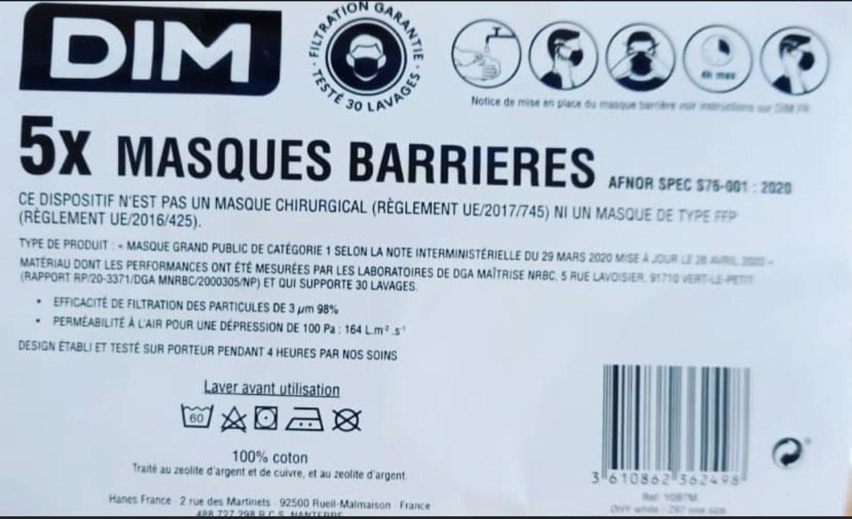 Paquet de 5 masques DIM offert à chaque passage en caisse - Halle O Discount Lognes (77)