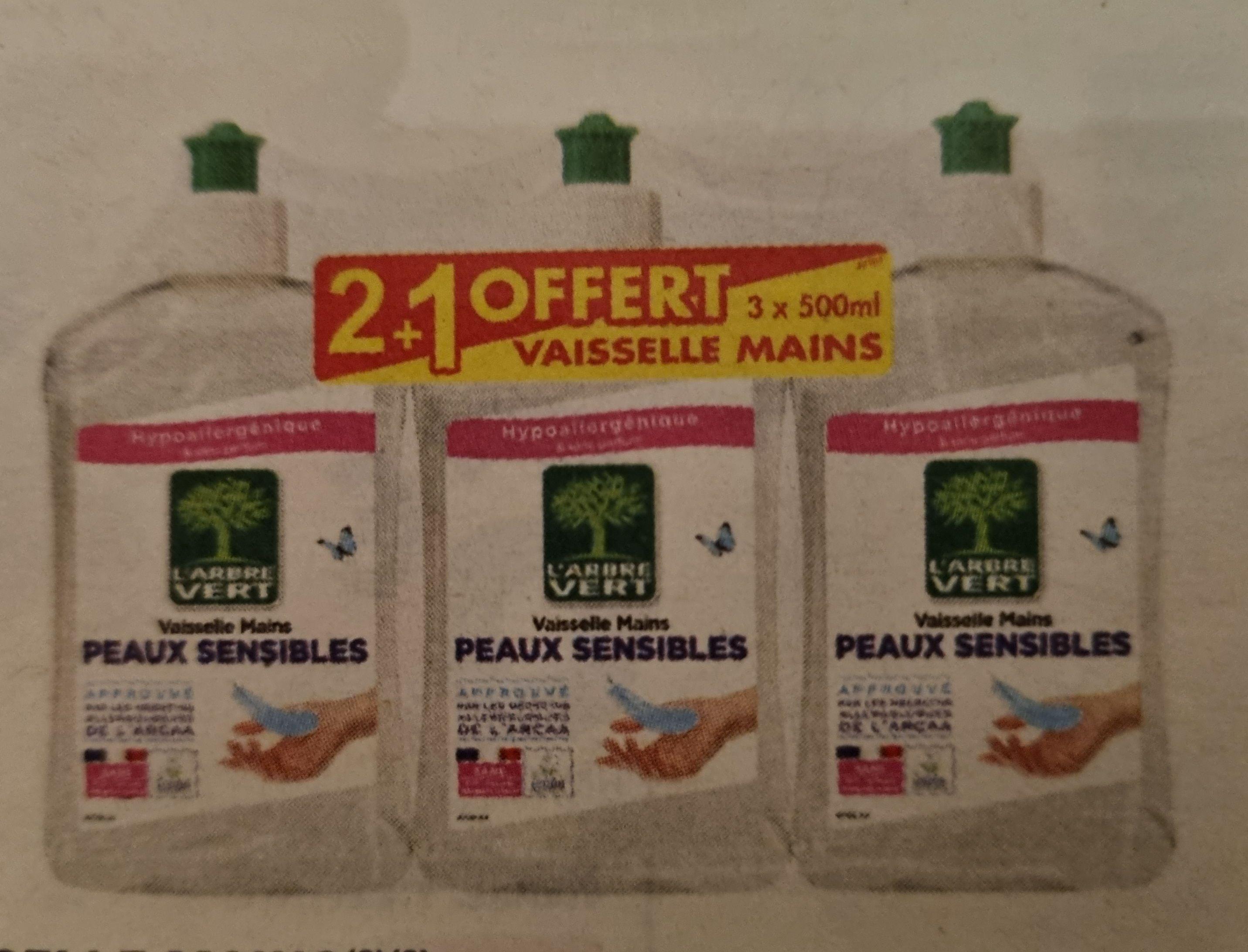 """Lot de 3 liquides vaisselle hypoallergéniques """"L'Arbre Vert"""" (3x 500ml)"""