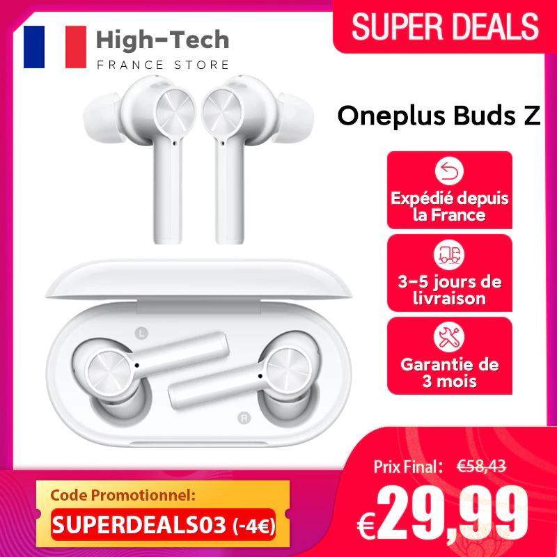 Ecouteurs sans fil OnePlus Buds Z - Bluetooth 5.0, IP55, 20 heures d'autonomie (Entrepôt France)