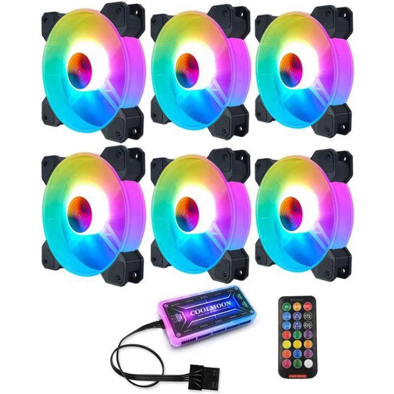 Lot de 6 ventilateurs PC Coolmoon (120mm, RGB) + Contrôleur