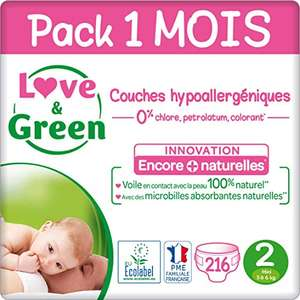Pack de couches 216 Couches Love & Green - Taille 2 (3-6 kg)