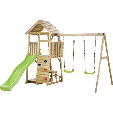 Aire de jeux portique en bois WOODI - Double balançoire toboggan escalade bac à sable table cabane échelle