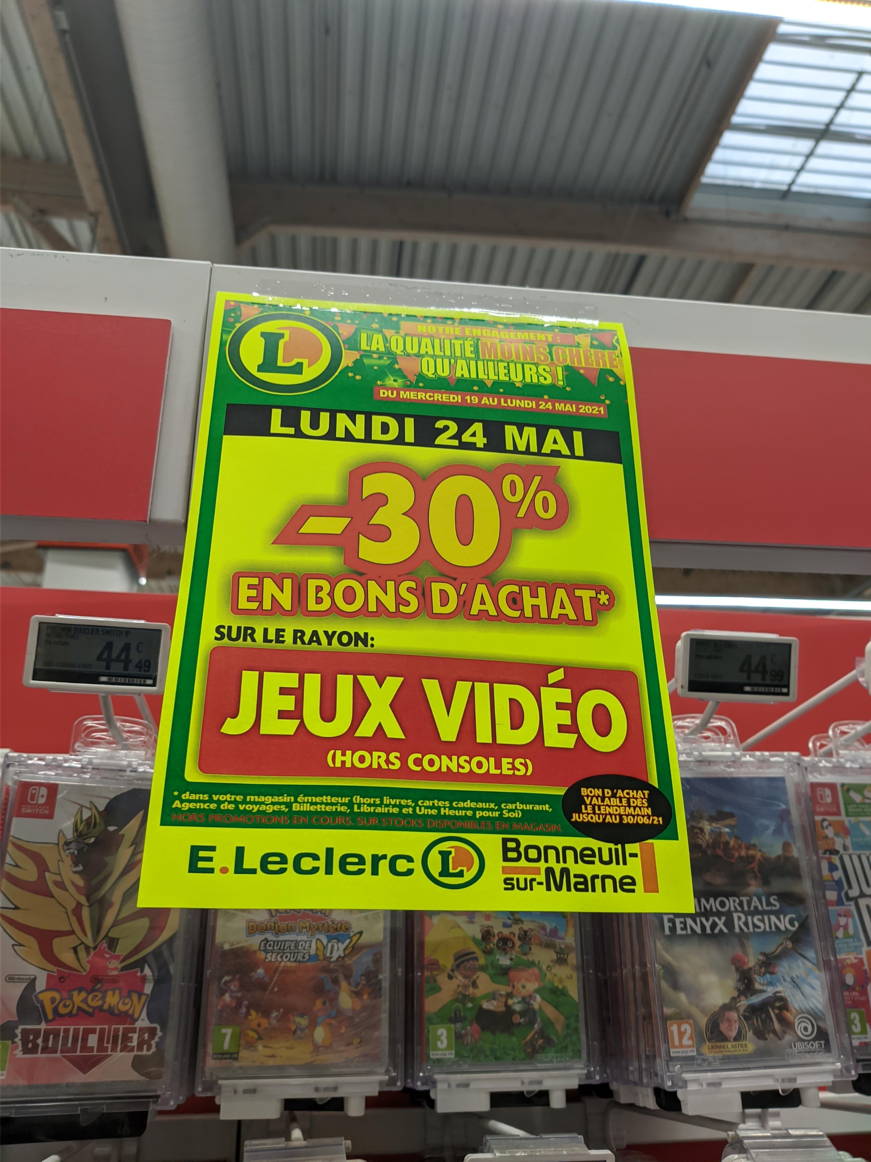 30% offerts en bons d'achat sur le rayon Jeux Vidéo (Hors console & promotions) - Bonneuil-sur-Marne (94)