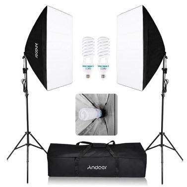Kit de photographie studio : 2 Softbox + 2 Trépieds + 2 Ampoules 135W + Sac de transport (Entrepôt EU)