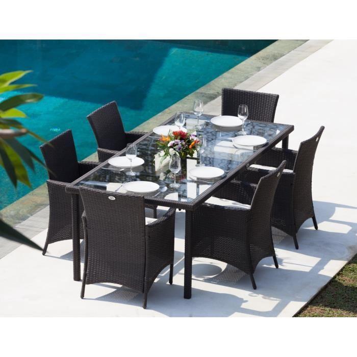 Ensemble Table de jardin Bora 220cm + 6 Fauteuils en résine tressée - Gris Anthracite